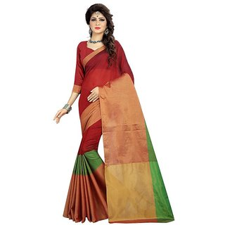 Rite Creations Red  Color Cotton  Saree -RI97_S_Red1