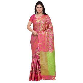 Rite Creations Pink  Color Cotton  Saree -RI127_S_Pink_ green1