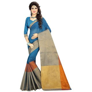 Rite Creations Blue  Color Cotton  Saree -RI99_S_SkyBlue1