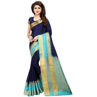 Rite Creations Green Color Nylon silk Printed Saree -RI242_S_Zari