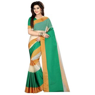 Rite Creations Green  Color Poly Cotton  Saree -RI68_S_Green