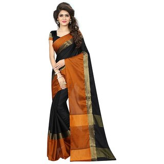 Rite Creations Black Color Aura cotton   Saree -RI132_S_BlackBrown1