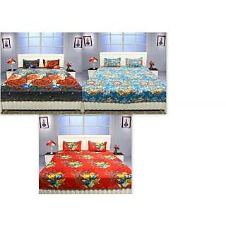 K Dcor Set Of 3 Polyester Cotton 100 Thread Count Double Bedsheet With 6 Pillow  Covers