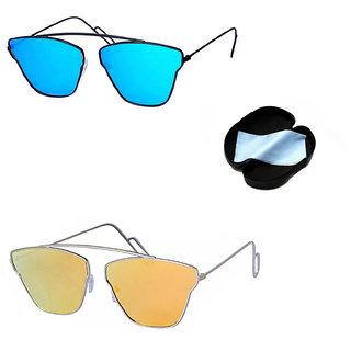 Combo Of Lee Topper Stylish UV Protected Light wight Metal Aviator Unisex Sunglasses