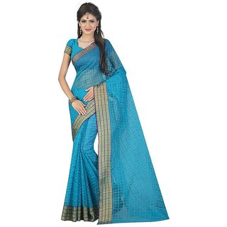 Rite Creations Ferozi Color Poly Cotton  Saree -RI70_S_Ferozi