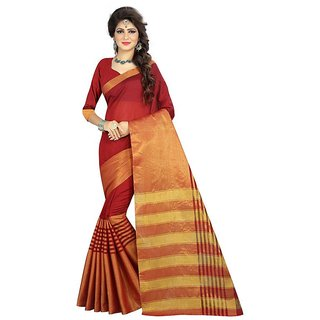 Rite Creations Red  Color Cotton  Saree -RI105_S_Red1