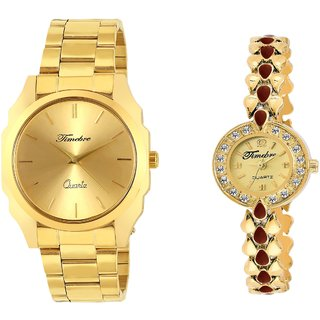 Timebre Origional Gold Analog Watch for Couple -567
