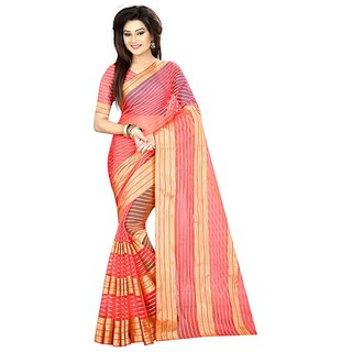 Rite Creations Peach Color Poly Cotton  Saree -RI75_S_Peach