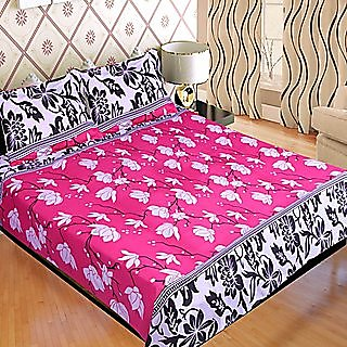 Lovely SNS Floral Poly Cotton Double Bed Sheet With 2 Pillow Covers   Multicolor