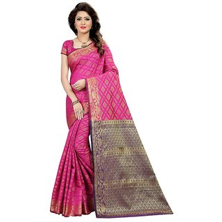 Rite Creations Pink Color Cotton silk Printed Saree -RI252_S_Rich