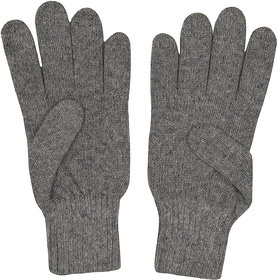 Zoravie Unisex Solid Winter Woollen Gloves- Grey