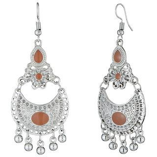 JewelMaze Brown Meenakari Rhodium Plated Afghani Earrings