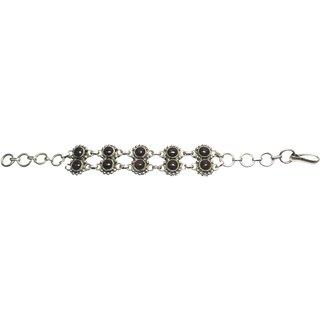 Shoppers Cave Designer Sterling Silver Bracelet Setted With Garnet Stone