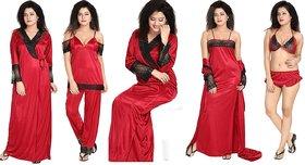 Diljeet Women's Satin Nighty (Red)- 6 Pc set- Nighty/Robe/Top/Bottoms/Bra/Thong