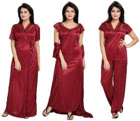 Diljeet Women's Satin Nighty-4Pc set-Nighty/Robe/Top/Bottom(maroon)