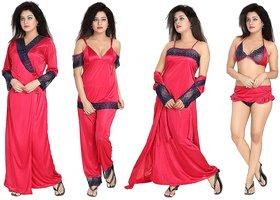 Diljeet Women's Satin Nighty (Pink)- 6 Pc set- Nighty/Robe/Top/Bottoms/Bra/Thong
