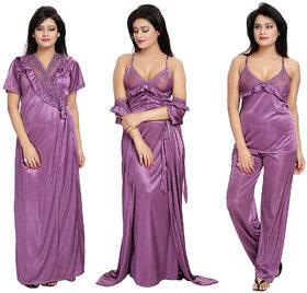 Diljeet Women's Satin Nighty-4Pc set-Nighty/Robe/Top/Bottom(Purple)