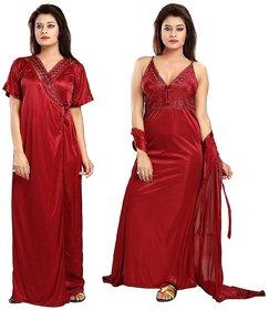 Diljeet Women's Satin Nighty - 2 Pc- Nighty/Robe(Red)