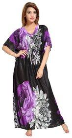 Women's Kaftan Nighty - Floral Print (Purple-Black)