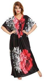 Women's Kaftan Nighty - Floral Print (Red-Black)