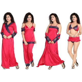 Buy Diljeet Women s Satin Nighty (Pink)- 6 Pc set- Nighty Robe Top Bottoms Bra Thong  Online - Get 65% Off 54d2438d1
