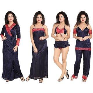 c5e01e2744 Buy Diljeet Women s Satin Nighty (Blue)- 6 Pc set- Nighty Robe Top Bottoms Bra Thong  Online - Get 65% Off