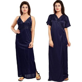 Diljeet Pack Of 2 Women Blue Satin Plain Nighty with Robe