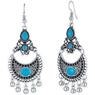 JewelMaze Rhodium Plated Blue Meenakari Afghani Earrings