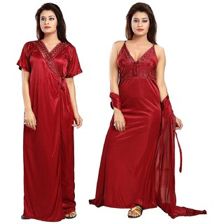 Diljeet Women's Satin Nighty - 2 Pc- Nighty/Robe(Red)