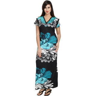 a118eace48 Buy Diljeet Women s Satin Nighty(Blue black)-Free size-floral print Online  - Get 85% Off