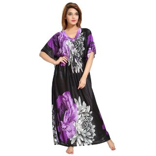 7debc012706 Buy Women s Kaftan Nighty - Floral Print (Purple-Black) Online - Get 90% Off