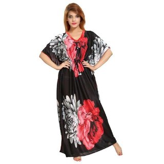 Women's Kaftan Nighty - Floral Print (Red-Black)