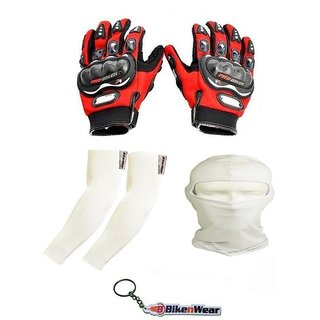 Combo Pack For Pro Biker Gloves Red-L+ Arm Sleeve  Face Mask-Cream With Key Chain