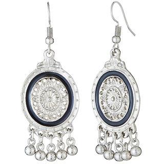 JewelMaze Rhodium Plated Black Meenakari Afghani Earrings