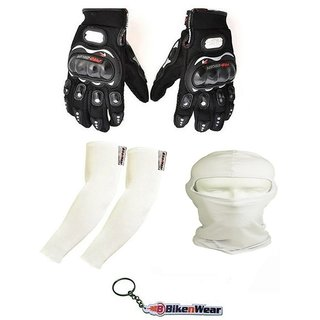 Combo Pack For Pro Biker Gloves Black-L+ Arm Sleeve  Face Mask-Cream With Key Chain