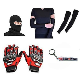 Combo For Probiker Gloves-Red-L  Arms Sleeve With Cotton Face Mask  Keychain
