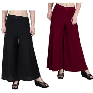 Aika Women's Salina Stright Readymade Plazzo Combo Pack 2 Pcs (FreeBlack,Maroon)-PL63-Salina Black Maroon
