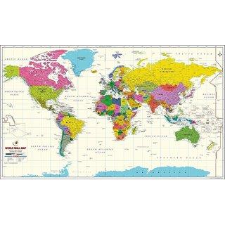 World map vivid color vinyl print wall chart 2017 edition size world map vivid color vinyl print wall chart 2017 edition size 48x28 inch gumiabroncs Images