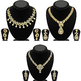 Sukkhi Gold Plated Gold Zinc Necklace Set For Women(Combo of 3)