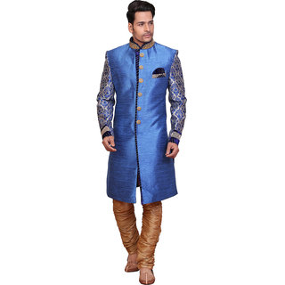 Abc Garments Blue Silk Sherwani For Mens