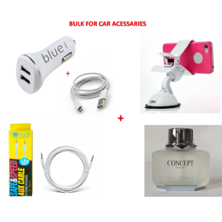 No Brand 3.4A DUAL USB CAR CHARGER WITH CABLE+360 ROTATION MOBILE HOLDER FOR CAR White+CONCEPT  Car Perfume+WhiteAUX CABLE