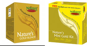Combo of 2 NatureS Essence Mini Gold Facial Kit with Natures Gold Bleach