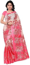 SVB Sarees Pink Taffeta Printed Saree Without Blouse Piece