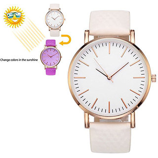 Color Changing Watch  Leather Strap Golden Case Women Watch Girl Watch Ladies Watch White to Purple by HRV