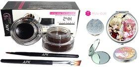 music flower Long Wear Gel Eye Liner (24 H Eye Studio) 6 g (Black, Brown) with Mini Mirror
