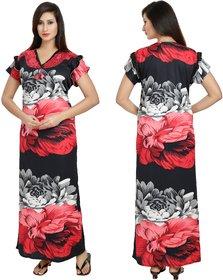 Diljeet Women's Satin Nighty(Red black)-Free size-floral print