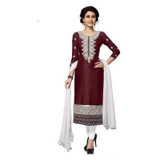 DnVeens Women Pure Cotton Embroidered Unstiched Party Wear Suit Salwar Kameez Dress Material BLMDSNH1261 (Unstitched)