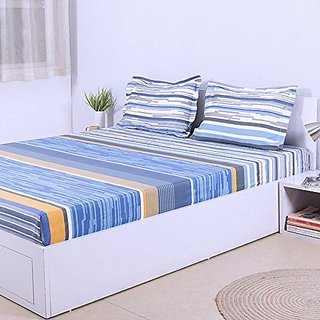 House This The Vivid Sky Cotton Double Bedsheet & 2 Pillow Covers - Blue