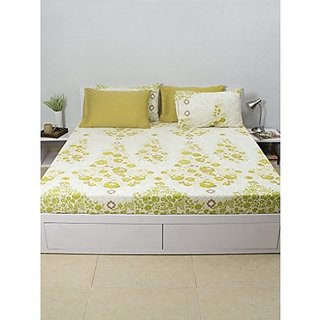 House This Frida-Costura 100% Cotton 1 Double Fitted BedSheet & 2 Pillow Covers - Green
