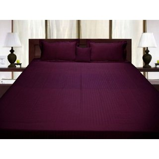 AVI Super Classic High Quality 310 TC Stripes Cotton Extra Large Bed Sheet  With 2 Pillow Cover, Wine (108*108in)